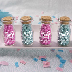 Personalized Gender Reveal Milk Jar Baby Shower Favors