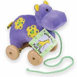 Velour Hippo Pull Toy
