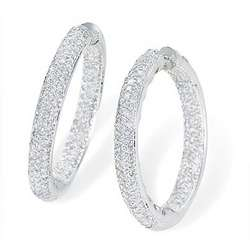 Large 5 Carat Diamond Hoop Earrings in 18k Gold