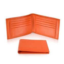 Classica Men's Orange Calfskin Billfold Wallet