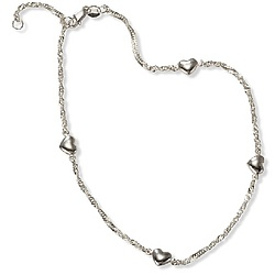 Sterling Silver Puffy Heart Anklet