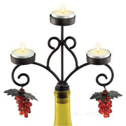 Three Candle Chateau Wine Bottle Candelabra