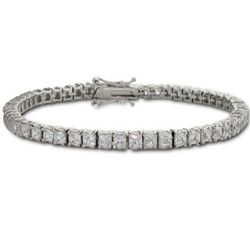 Sterling Silver Princess Cut Diamond CZ Tennis Bracelet