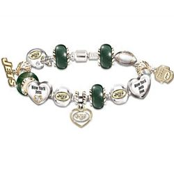 New York Jets Charm Bracelet With Swarovski Crystals
