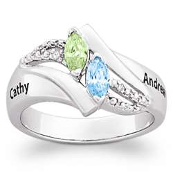 Diamond Couple's Name and Marquise Birthstone Ring