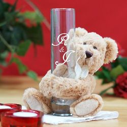 Engraved Couple's Initials Bud Vase and Teddy Bear Hugger