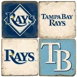 Tampa Bay Rays Tumbled Italian Marble Coasters