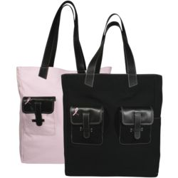 Pink Ribbon Reversible Canvas Tote