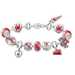 Wisconsin Badgers #1 Fan Charm Bracelet