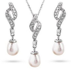 Sterling Silver Elegant CZ Pearl Necklace and Earrings Set