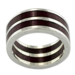 Men's Triumph Wood and Silver Band Ring