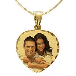 Heart Yellow Gold Custom Photo Necklace