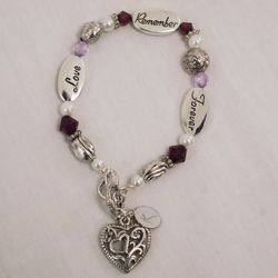 Love, Remember, Forever Engraved Memorial Bracelet