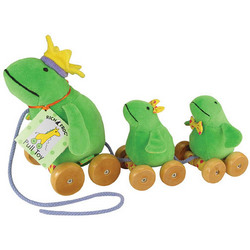 Velour Frog & Babies Pull Toys