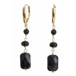 14k Black Onyx Leverback Earrings