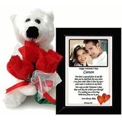 Valentine Bear with Roses and Framed Poetry