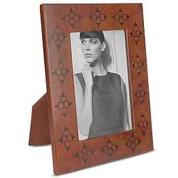Decorated Wood and Leather Picture Frame