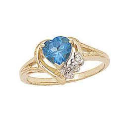 Heart-shaped Blue Topaz & Diamond Gold Heart Ring