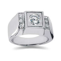 0.12 ctw Men's Diamond Ring in 18K White Gold