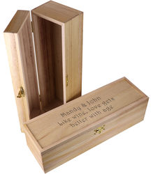 Personalized Natural Wood Single Bottle Wine Chest Box