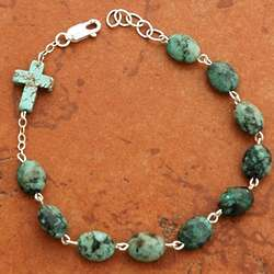 Sterling Silver Turquoise Nugget Rosary Bracelet