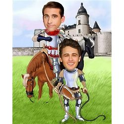 2 Men in Armor Camelot Caricature Print from Photos