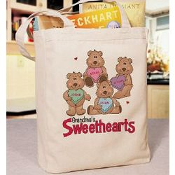 Candy Sweetheart Bears Personalized Canvas Valentine Tote Bag