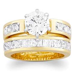 Solitaire and Channel Set Cubic Zirconia Wedding Ring Set