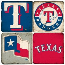 Texas Rangers Tumbled Italian Marble Coasters