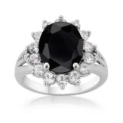 Black Onyx and White Sapphire Diamond Accent Ring