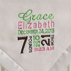 Birth Announcement Personalized Baby Girl's Blanket