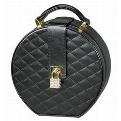 Black Leather Round Travel Jewelry Case