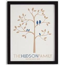Family Tree with Birds Framed Art