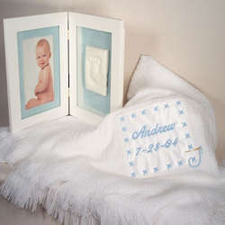 Baby's Personalized Blue Shawl and Picture Frame
