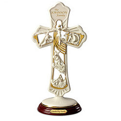 Guided By Faith Porcelain Cross with Family Name