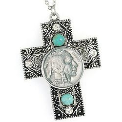Buffalo Nickel Cross Pendant with Crystal and Turquoise Accents