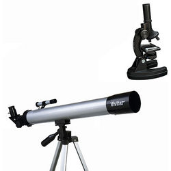 Refractor Telescope and Die Cast Microscope