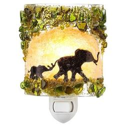 Baby and Mother Elephant Recycled Glass Nightlight