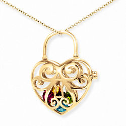 I Love You Key To My Heart 4mm Round Birthstone Gold Locket