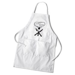 Women's Personalized Apron with Chef's Hat Design in White