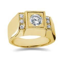 0.12 ctw Men's Diamond Ring in 14K Yellow Gold