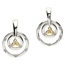 Circle Trinity Knot Earrings with Diamonds