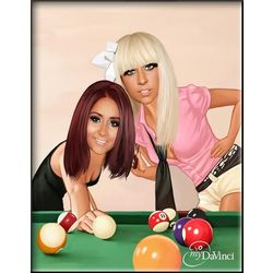 Female Pool Playing Duo Caricature Print from Photos