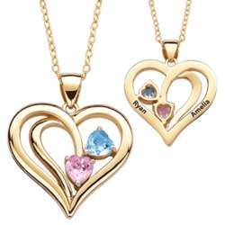 14K Gold Plated Couple's Name and Birthstone Heart Necklace