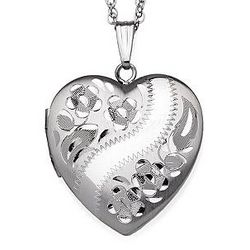 Sterling Silver Diamond Cut Heart Locket