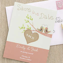 Personalized Love Birds Save The Date Cards