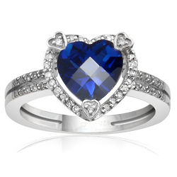Diamond and Created Sapphire Birthstone Heart Ring