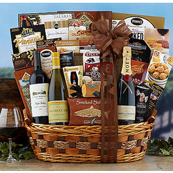 Champagne, Cabernet and Chardonnay Gift Basket