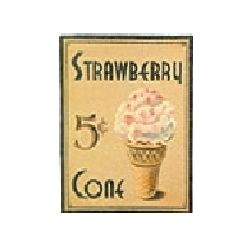 Strawberry Cone 5 Cents Tin Sign