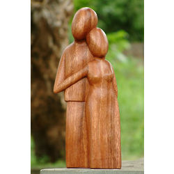 Young Family Handcrafted Wood Sculpture